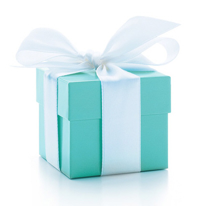 Tiffany Inspired favor box with 3 truffles